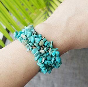Turquoise Stone Stretch Boho Bracelet